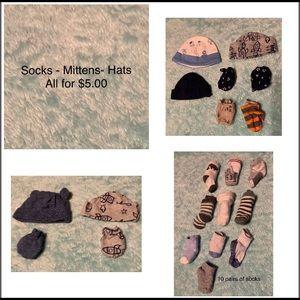 Baby boy socks, mittens & hats